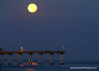 SUPER MOON SETTING OVER OCEAN BEACH PIER 8-10-14