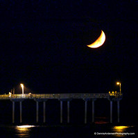CRESCENT MOON SETTING OVER OB PIER 9-10-13
