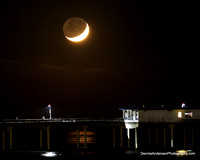 "CRESCENT MOON w/ ""EARTHSHINE"" setting over the Ocean Beach Pier 10-27-14"